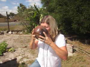 Pam drinking umqombothi!