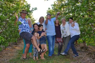 Dancing under the apple trees - after a few bottles of  Iona Wine!